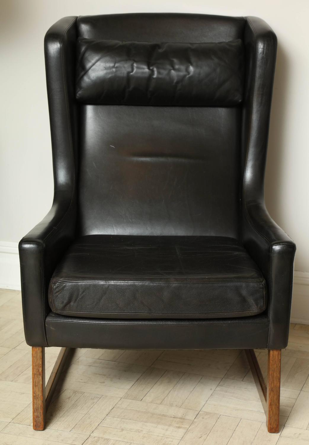 black leather wingback chair vintage high back mid 20th century wing cross stretcher