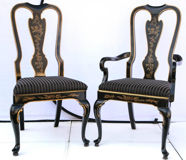drexel heritage chairs revolving chair technical specification set of six black laquered chinoiserie dining lacquered upholstery in excellent condition