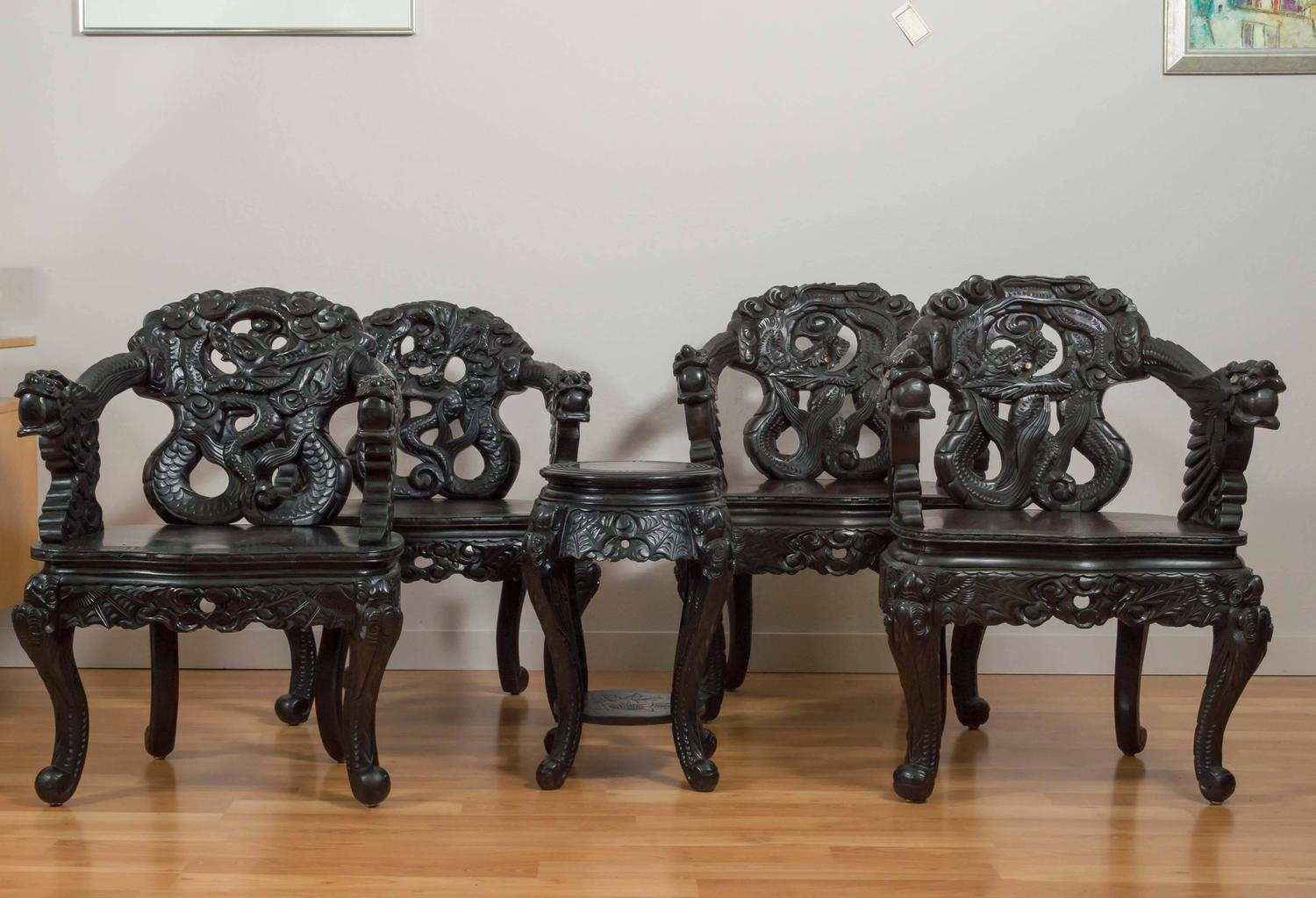 antique chinese dragon chair lounge pair of hand carved chairs at 1stdibs