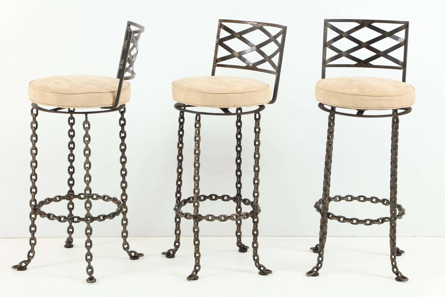 seng chicago chair dining chairs set of 4 india three handmade chain link barstools for sale at 1stdibs