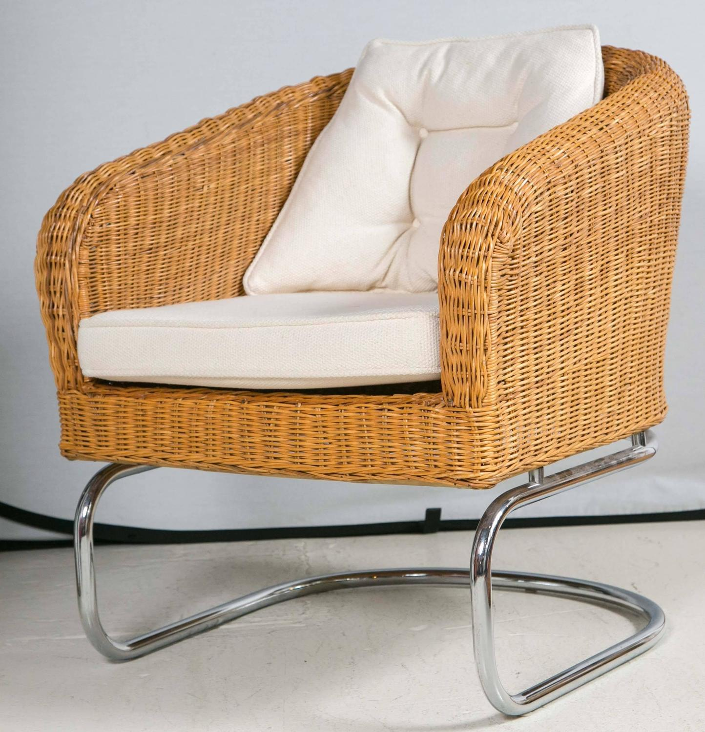 mid century cane barrel chair swing egg indoor wicker and chrome chairs at 1stdibs