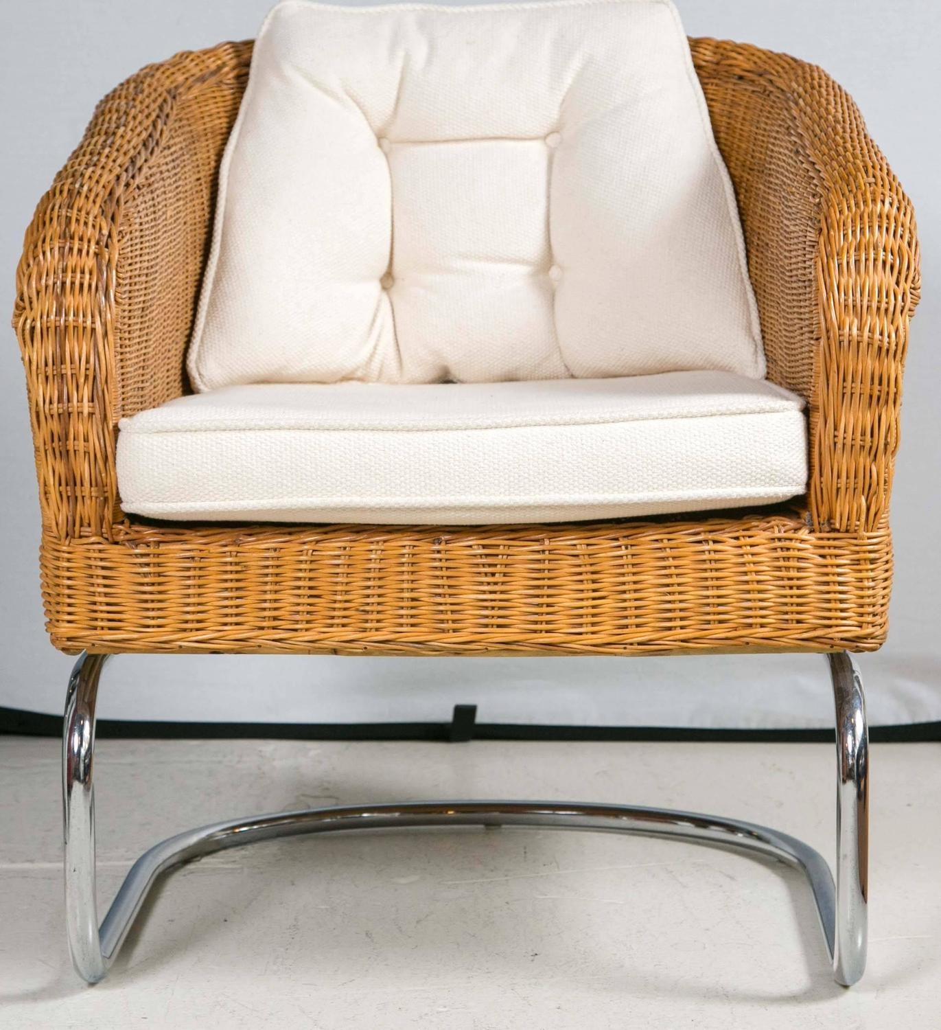 mid century cane barrel chair blue print wicker and chrome chairs at 1stdibs