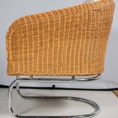 Mid Century Cane Barrel Chair Walking Stick Heavy Duty Wicker And Chrome Chairs At 1stdibs