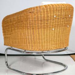 Mid Century Cane Barrel Chair Ergonomic Nsn Wicker And Chrome Chairs At 1stdibs