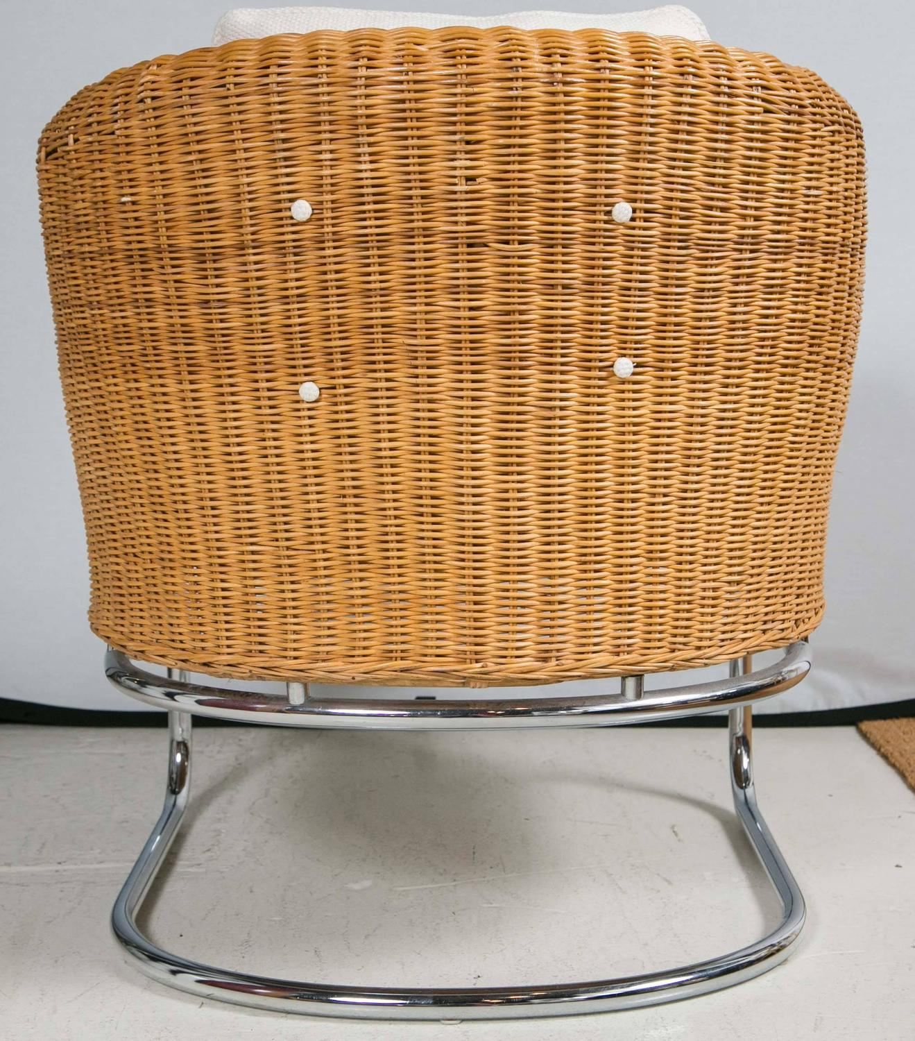 mid century cane barrel chair dining room slipcover wicker and chrome chairs at 1stdibs
