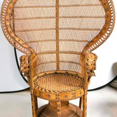 Rattan Wingback Chairs Brown Leather Desk Chair Peacock At 1stdibs