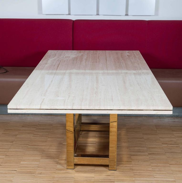 Hollywood Glam Dining Table With Brass Base And Travertine