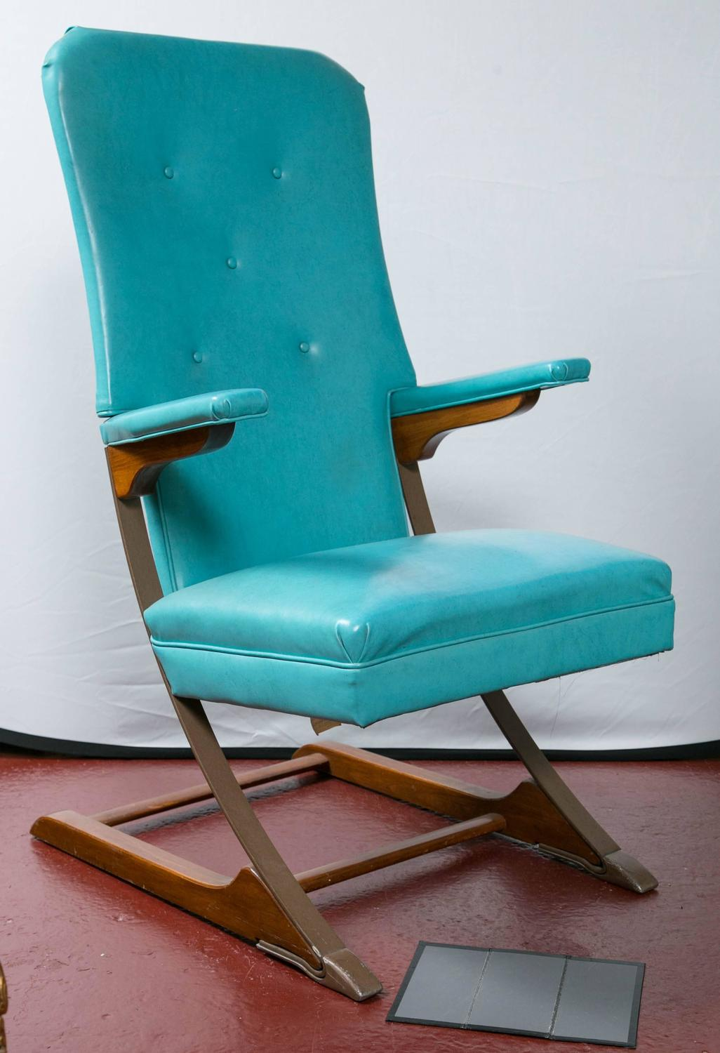 mid century rocker chair ethan allen recliners chairs set of six blue mckay spring rocking