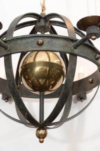 Pair of Mid-Century Verdigris Iron and Brass Orbit Light ...