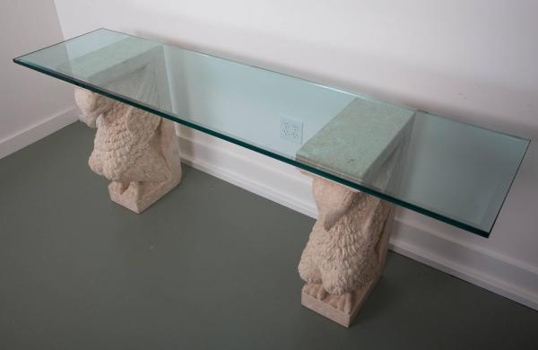 Griffon Double Base Console Table With Beveled Glass Top