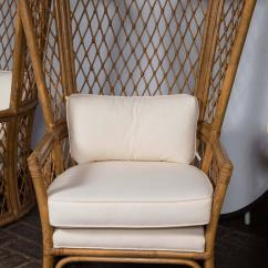 Bamboo Chairs For Sale 2 Chair Outdoor Table Set Pair High Back With Ottomans At 1stdibs