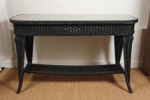 black wicker sofa table 1stdibs