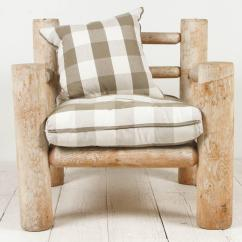 Oversized Upholstered Chair Steel On Wall Log Framed In Grey Twill For