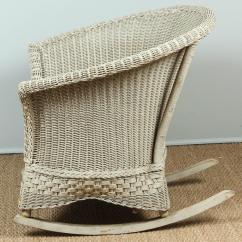 Vintage Wicker Rocking Chair Upholstered Revolving Antique And Rocker For Sale At 1stdibs