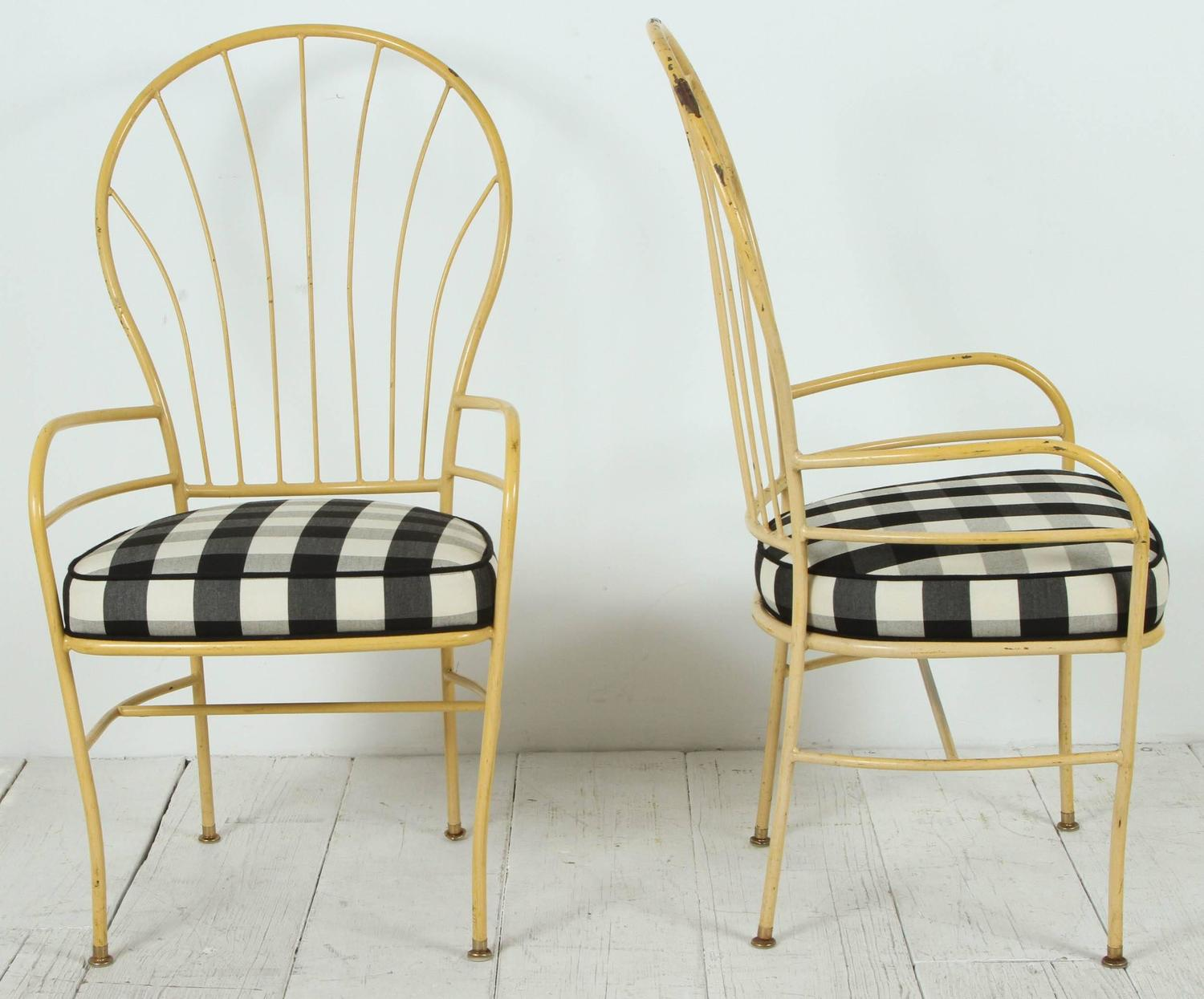 fabric outdoor chairs leather rocking uk set of four yellow metal in black and white