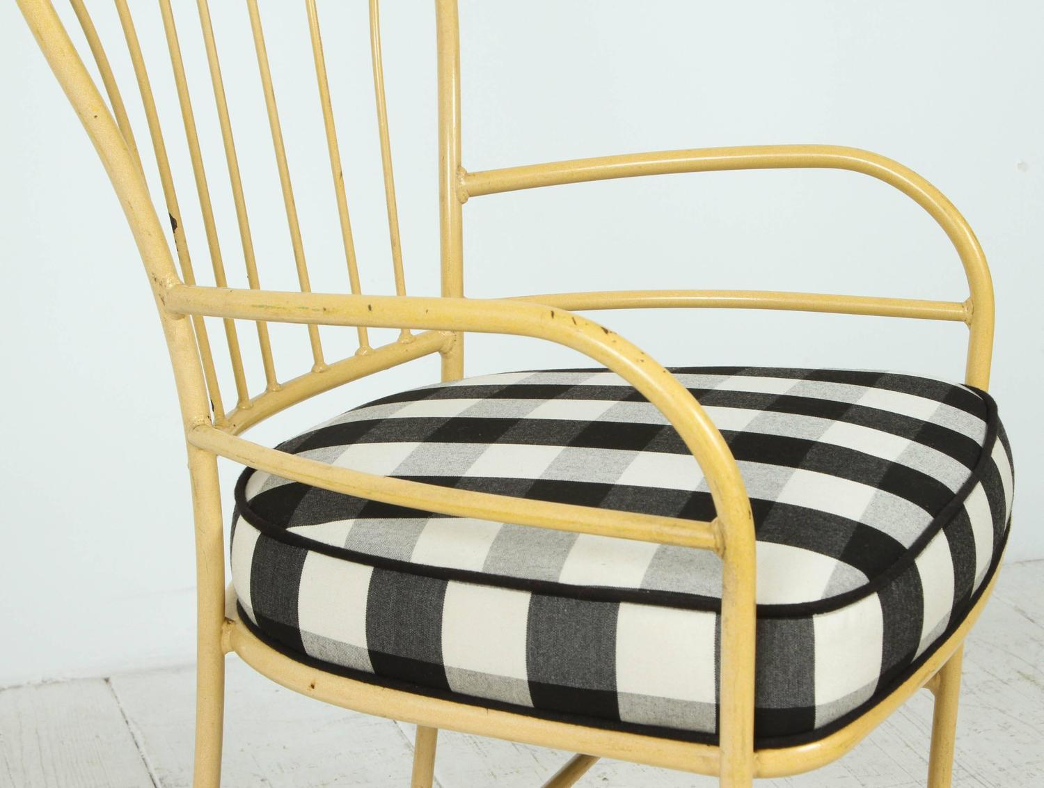 yellow chairs for sale hanging chair hammock south africa set of four metal outdoor in black and white