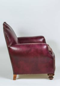 British Purple Leather Club Chair For Sale at 1stdibs