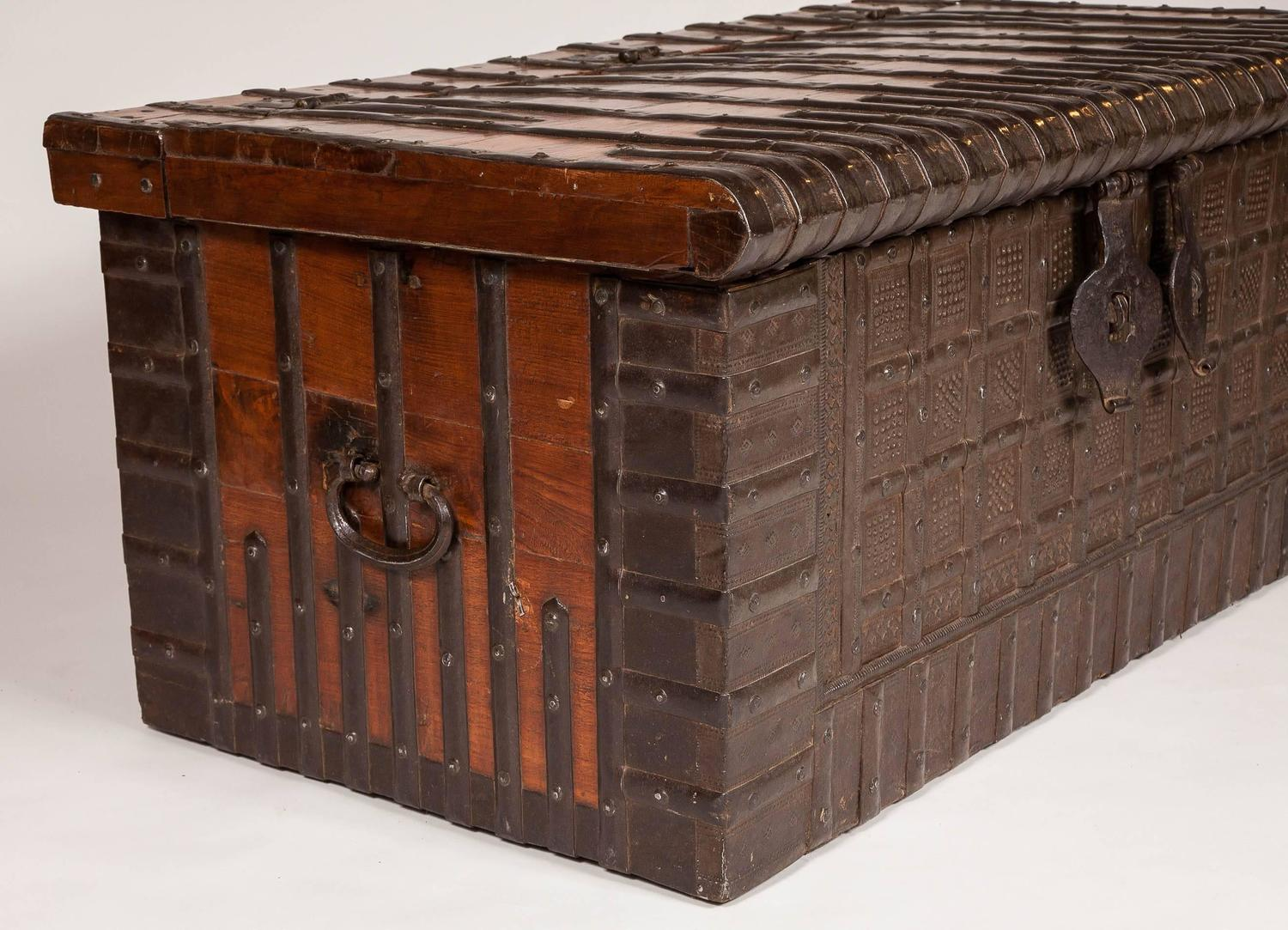 19th Century Iron Bound Teak Storage Trunk For Sale At 1stdibs