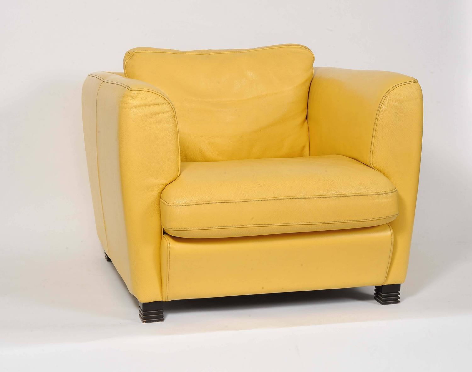yellow club chair back store pair of french 1960s cream leather chairs for