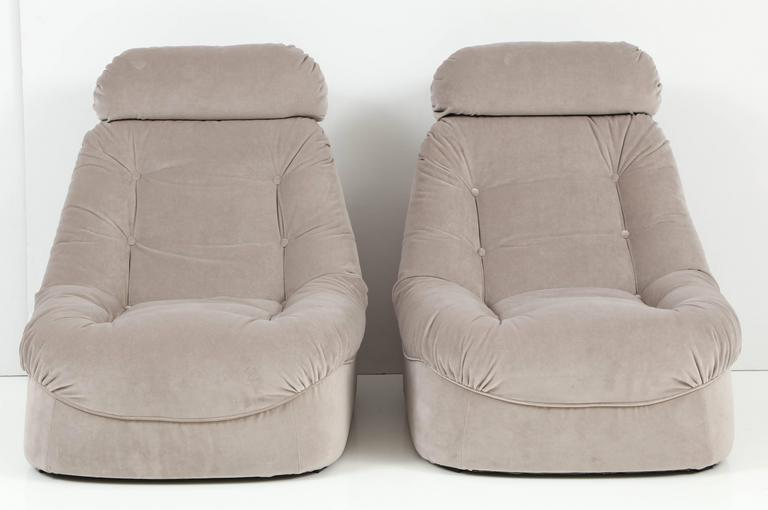 leanback lounger chairs chair covers wedding sale pair of mid century modern lean back loungers in grey velvet at 1stdibs very comfortable and solid lounge completely restored newly upholstered with tufted backs