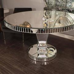 Kitchen Table Round Shoes For Work In Custom Mirrored Dining Sale At 1stdibs Starfire With Side Baguettes And Pedestal Stand Base