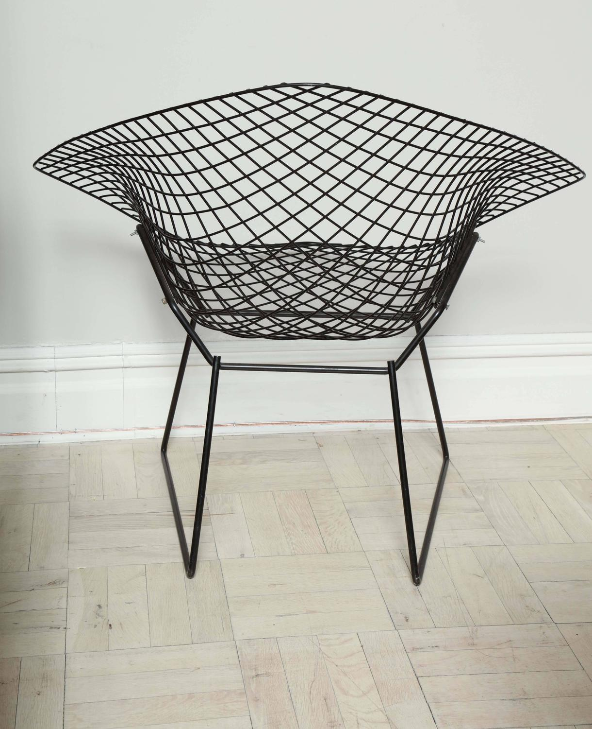 Mid Century Wire Chair Pair Of Mid Century Black Wire Quotbertoia Quot Chairs For Knoll