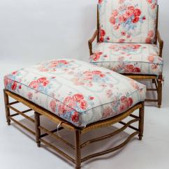 French Bergere Chair And Ottoman Stacking Chairs Ireland 18th Century Country Rush Seat
