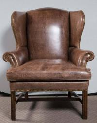 Pair of Oversized Leather Wing Chairs For Sale at 1stdibs