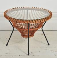 1950s Rattan Table with Glass Top on Tripod Legs by Franco ...