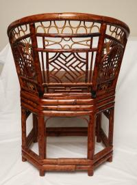 Pair of Unusual Chinese Brighton Bamboo Barrel Back Chairs ...