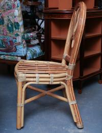 Set of Six Midcentury Rattan Dining Chairs For Sale at 1stdibs