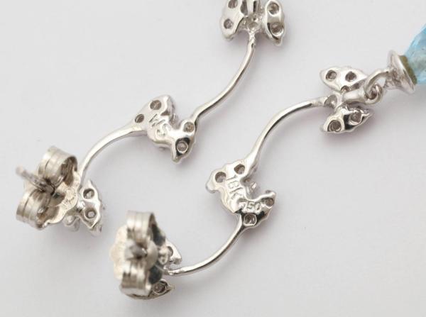 Delicate Blue Topaz Diamond Gold Butterfly Earrings For