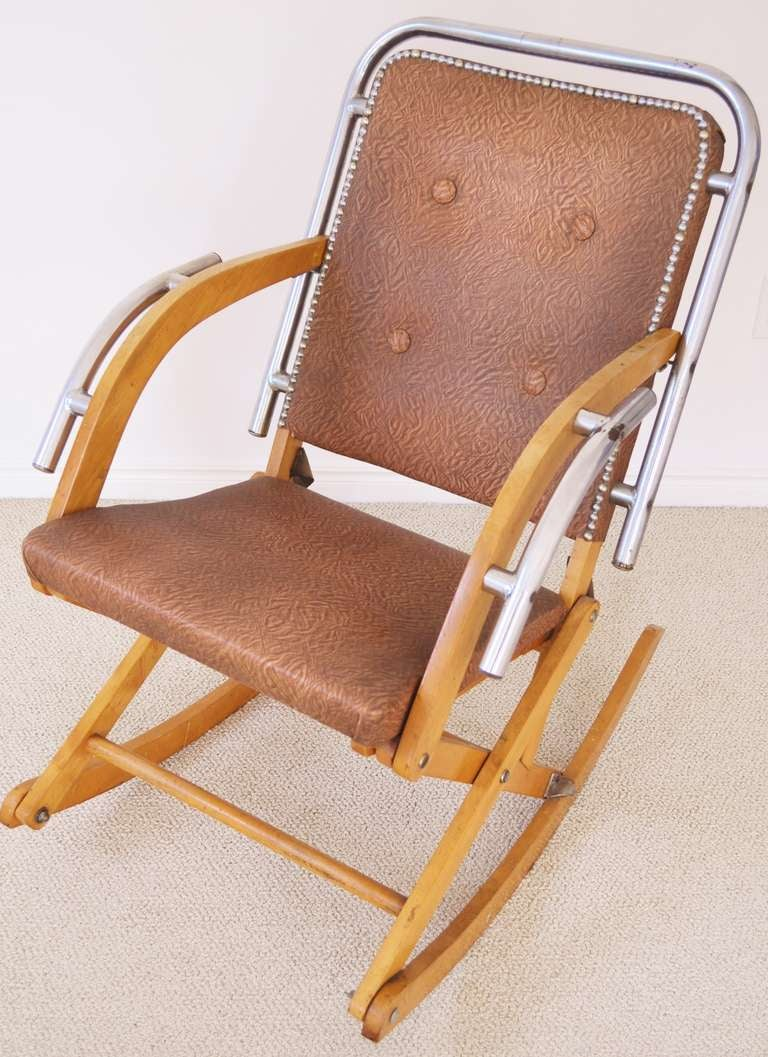 Canadian MidCentury Modern Folding Rocking Chair in