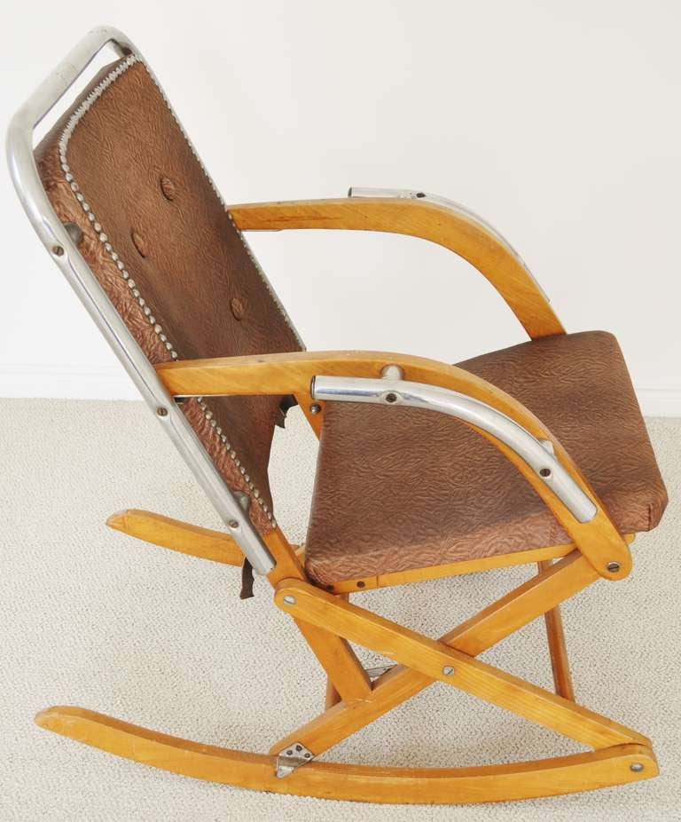 foldable rocking chair kids chairs kmart canadian mid century modern folding in blonde wood and 20th