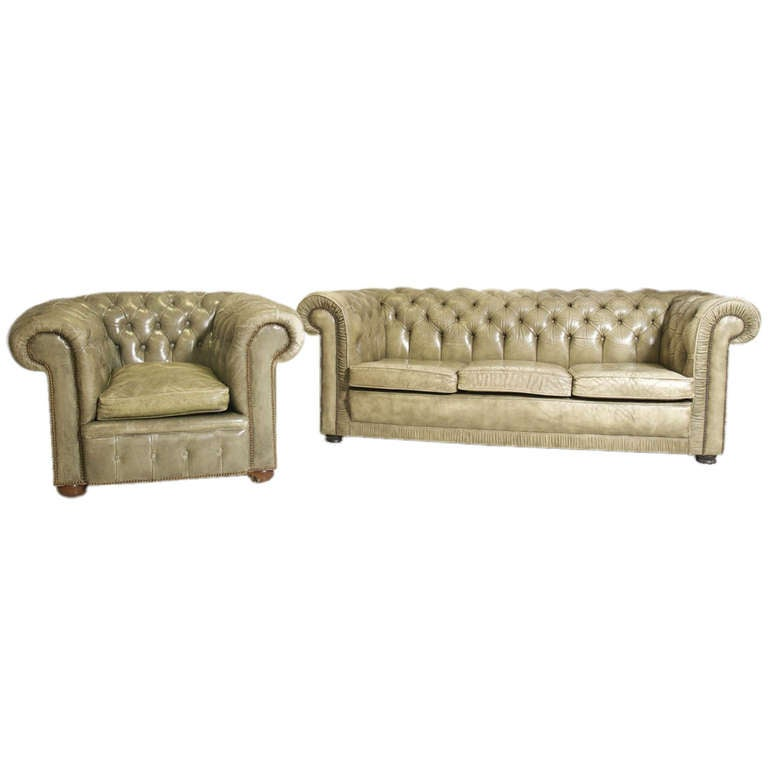 de sede sofa vintage flexsteel capitol double reclining rustic chesterfield and matching chair at 1stdibs