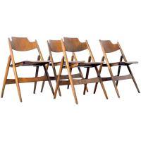Four 1950s Egon Eiermann Ply Wood Folding Chairs For Sale ...