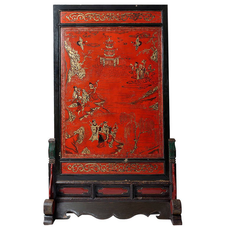 black wood desk chair folding recliner exceptional tall chinese standing screen, 19th century, qing dynasty, lacquer at 1stdibs