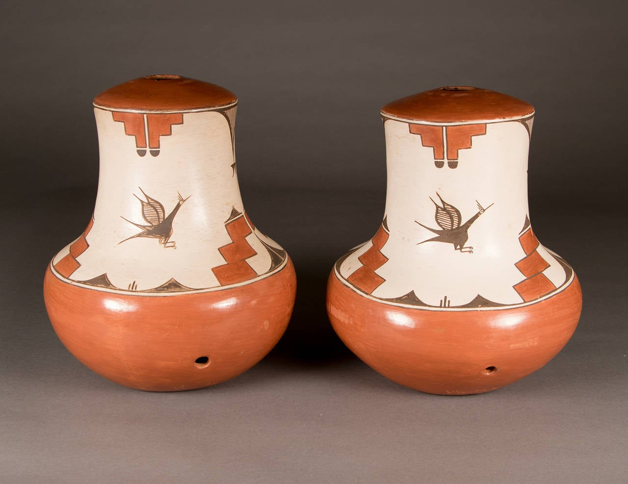 Two Native American Pottery Lamp Bases Zia Pueblo For