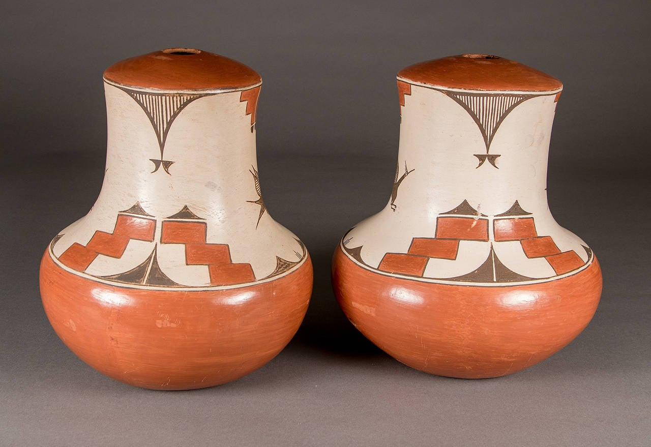 Two Native American Pottery Lamp Bases Zia Pueblo At 1stdibs