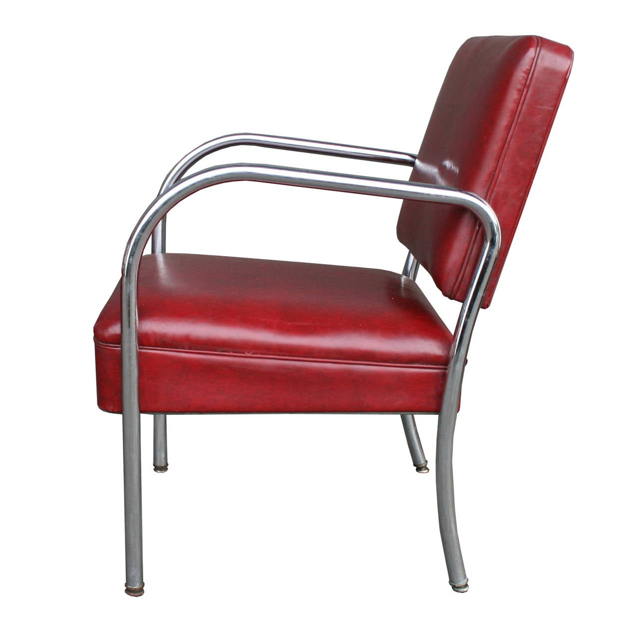 Barber Shop Chairs Set Of Four Maroon Vinyl And Chrome Barber Shop Chairs