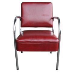 Vinyl Wicker Chairs Wheelchair Rental Las Vegas Set Of Four Maroon And Chrome Barber Shop C1945 At 1stdibs