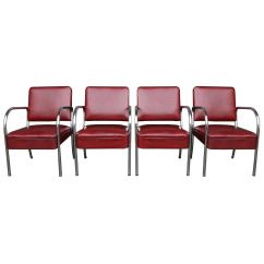 Barber Shop Chairs Rocking Lowes Set Of Four Maroon Vinyl And Chrome