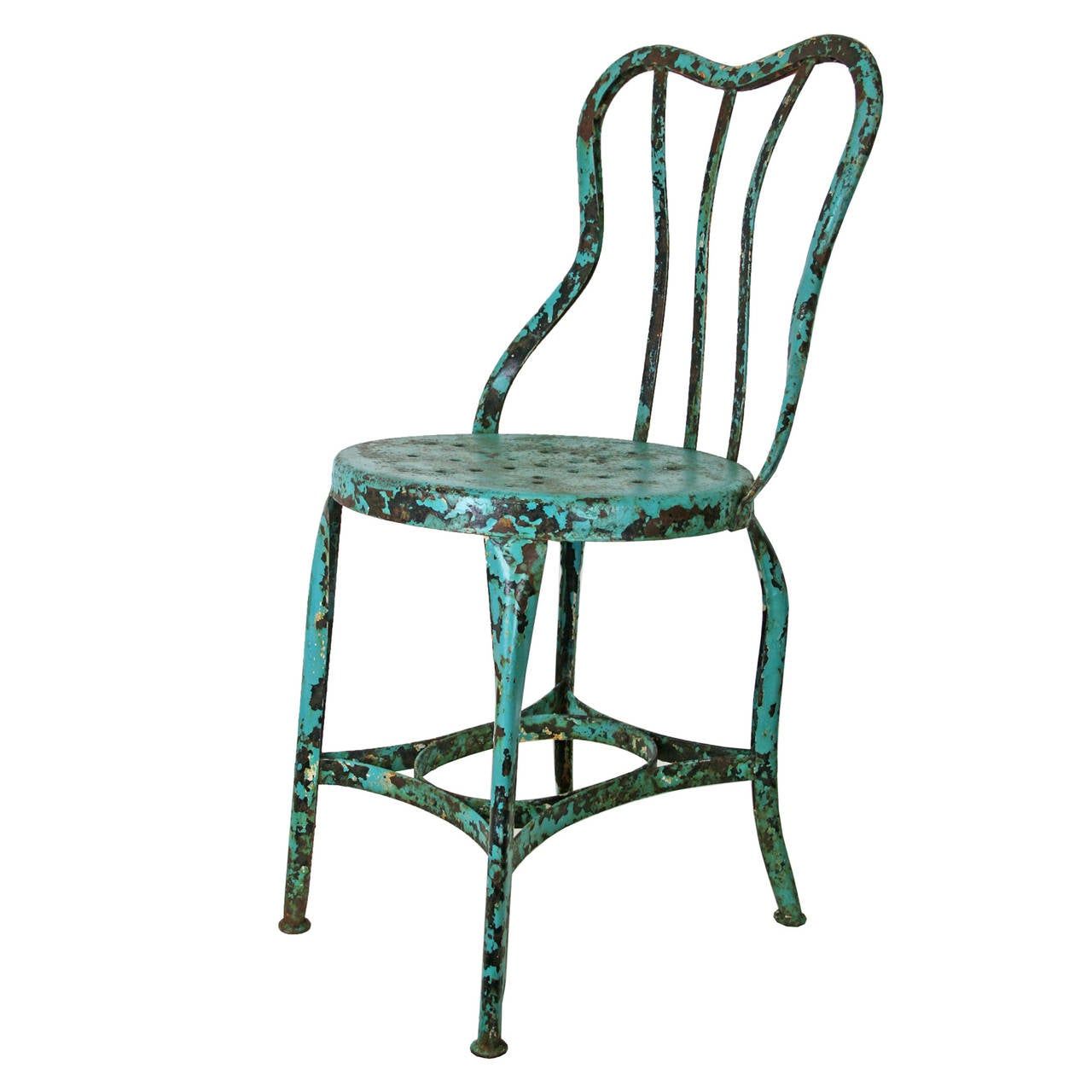 blue bistro chairs steel chair uk set of 4 turquoise toledo cafe c1930 at 1stdibs