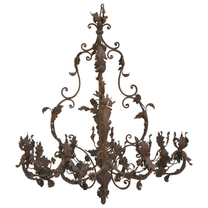 Wrought Iron Rococo Chandelier 18th Century Possibly German 1