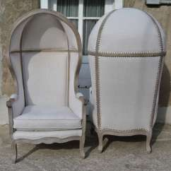 French Canopy Chair Target Slipper Covers Pair Of White Linen Hood Bishops Chairs For Sale At Country
