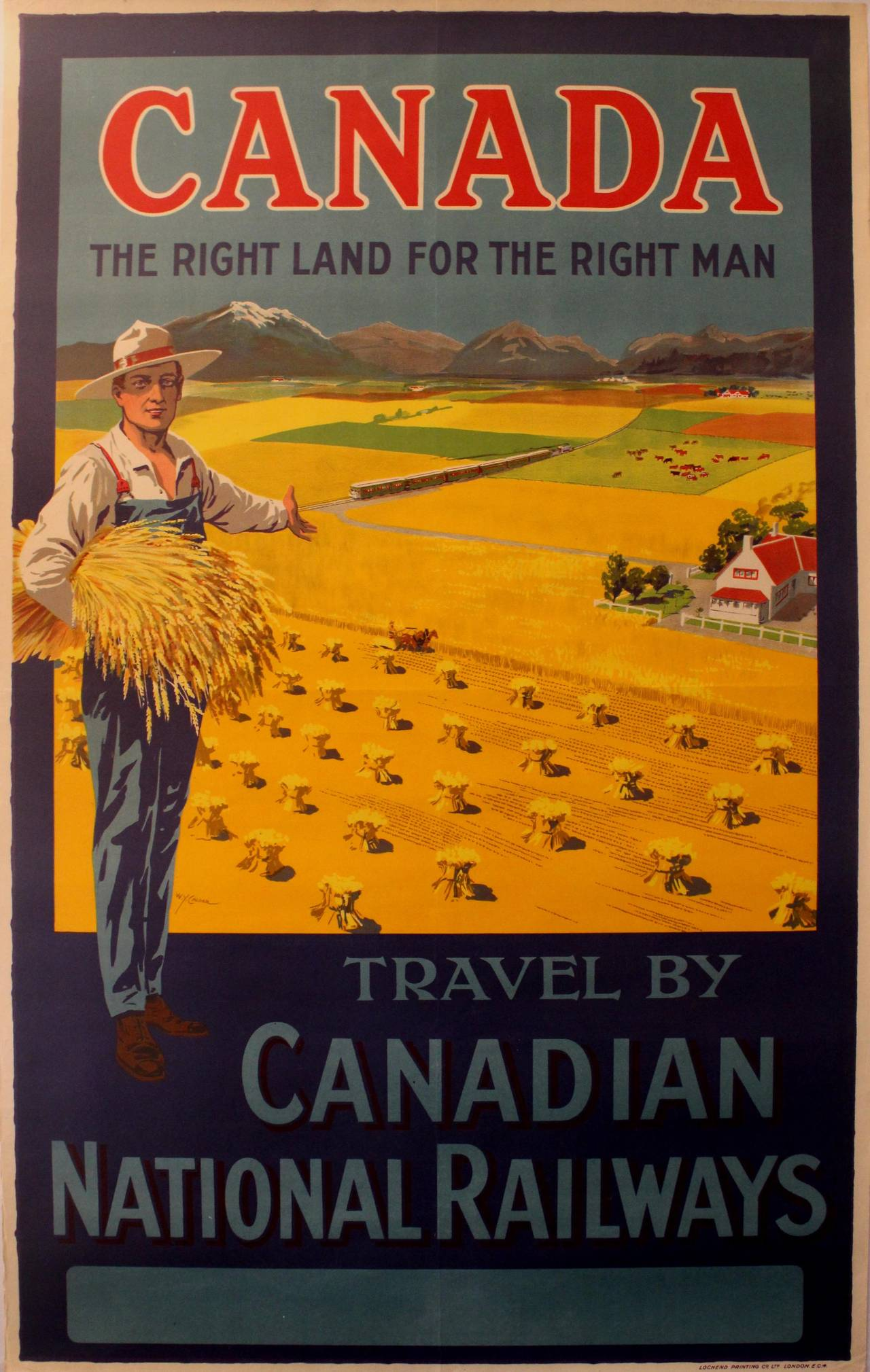 Original Vintage Railway Travel Poster Canada The Right Land For The Right Man For Sale at 1stdibs