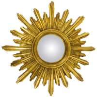 French Convex Carved Gilt Wood Sunburst Starburst Mirror ...