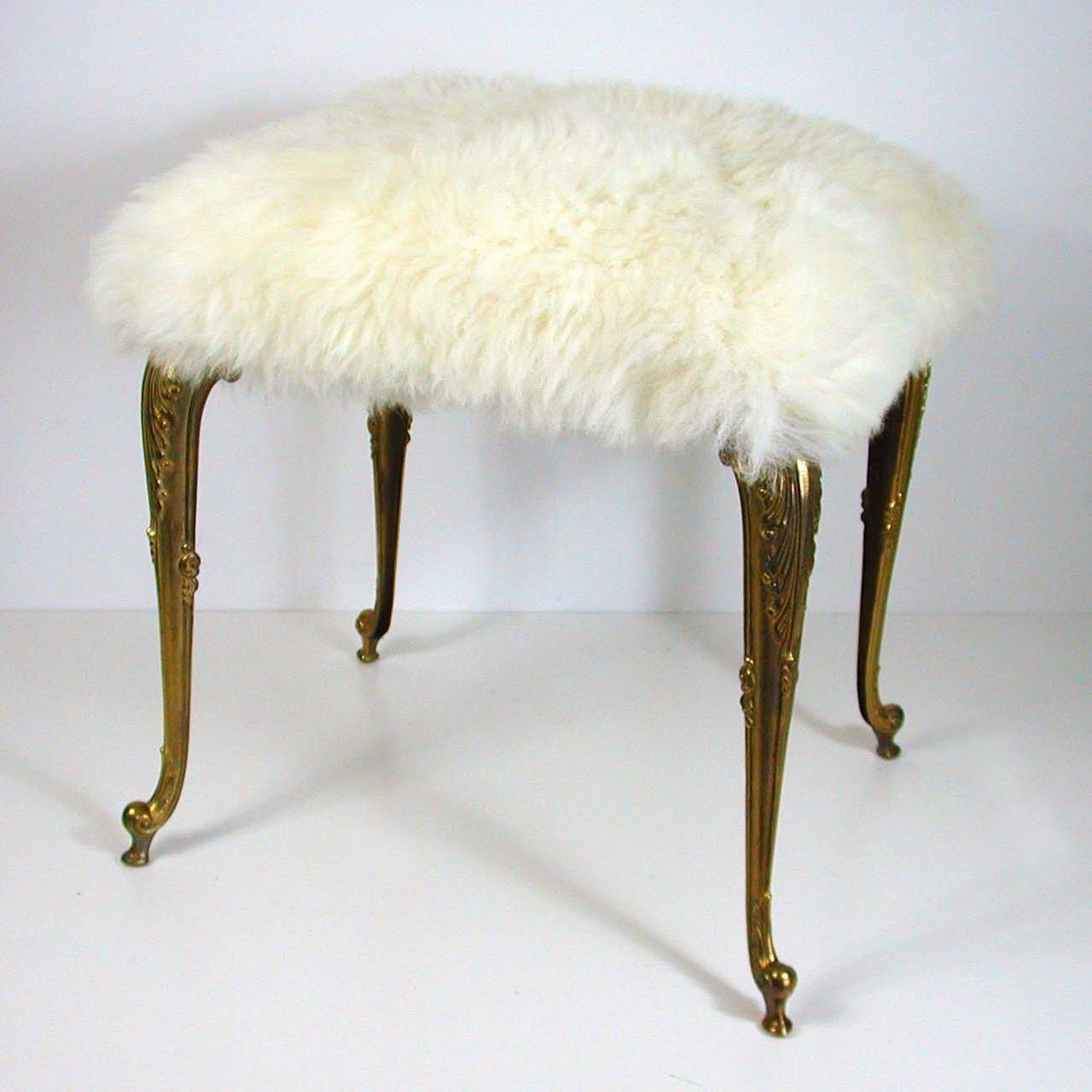 vanity chair white fur modified stand test hollywood regency upholstered sheep bronze