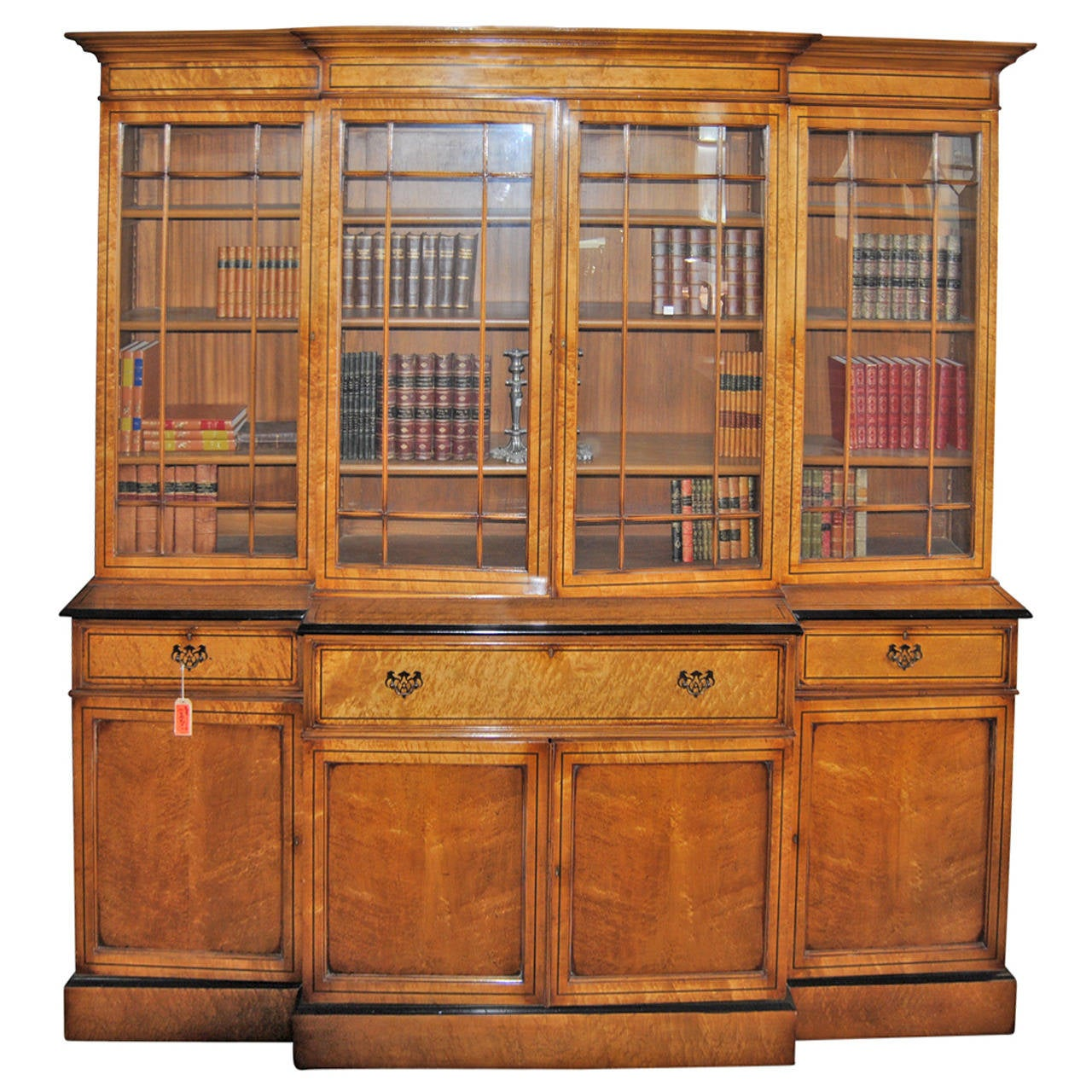 English Bird39s Eye Maple Breakfront Or Bookcase For Sale