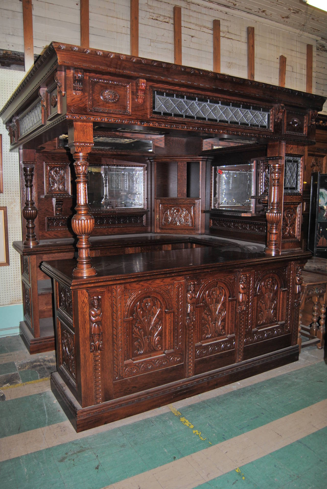 English Oak Carved Corner Bar For Sale at 1stdibs